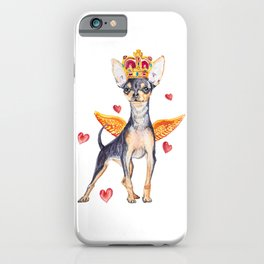 Cute watercolor glamorous dog with a golden crown. iPhone Case