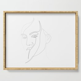one line abstract portrait Serving Tray