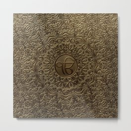 Decorative Ek Onkar / Ik Onkar  embossed on gold Metal Print