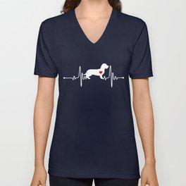 Wirehaired Dachshund dog heartbeat Unisex V-Neck