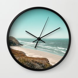 Beach Horizon | Teal Color Sky Ocean Water Waves Coastal Landscape Photograph Wall Clock