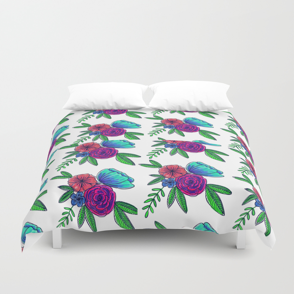 Vibrant Florals Duvet Cover by Happyhippie DUV8374152