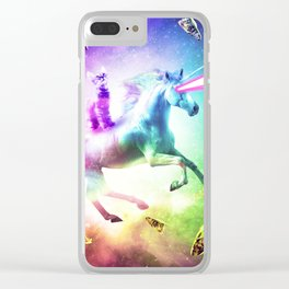 Space Cat Riding Unicorn - Laser, Tacos And Rainbow Clear iPhone Case