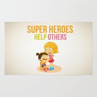 super heroes Area & Throw Rugs featuring Super Heroes Help Others by youngmindz