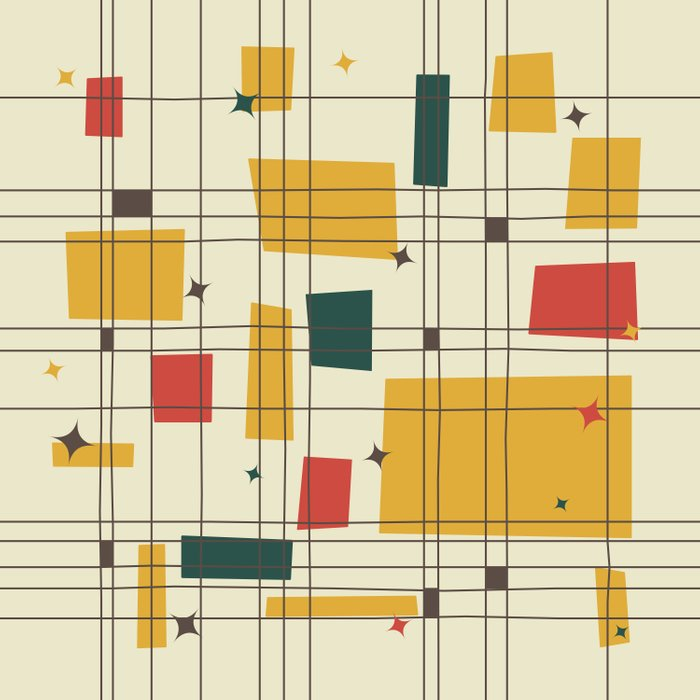 Mid Century Modern Gold Duvet Cover By Studiofibonacci