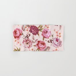 Blush Pink and Red Watercolor Floral Roses Hand & Bath Towel