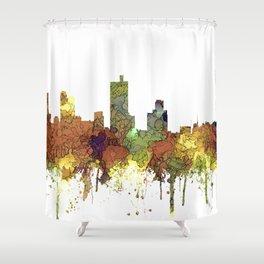 Fort Worth, Texas Skyline SG - Safari Buff Shower Curtain