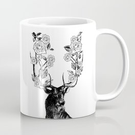 The Stag and Roses | Black and White Coffee Mug
