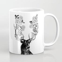 The Stag and Roses | Deer and Flowers | Vintage Stag | Vintage Deer | Antlers | Black and White | Coffee Mug