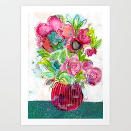 Pink Flowers and Green Leaves Art Print