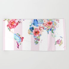 Floral World - Pink Stripe Beach Towel