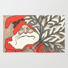 Christmas Pudding And Vintage Santa Vector Rug