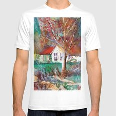 Country Cottage White MEDIUM Mens Fitted Tee