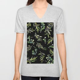 Eucalyptus and Olive Pattern  Unisex V-Neck