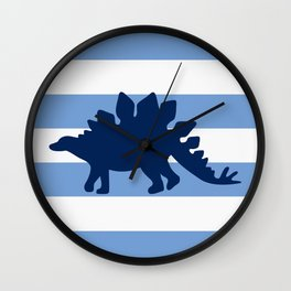 NAVY DINOSAUR ON MEDIUM BLUE RUGBY STRIPE Wall Clock