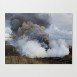Rood Ashton Hall in clouds of steam Canvas Print