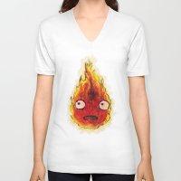 calcifer V-neck T-shirts featuring Burning Calcifer by KeithKarloff