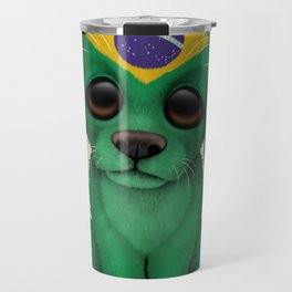 Cute Puppy Dog with flag of Brazil Travel Mug