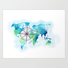 Watercolor map Art Print