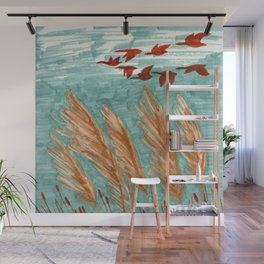 Geese Flying over Pampas Grass Wall Mural