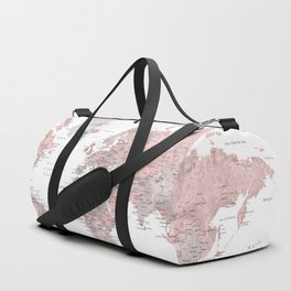 Dusty pink and grey detailed watercolor world map Duffle Bag
