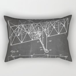 Wright Brother'S Machine Patent - Airplane Art - Black Chalkboard Rectangular Pillow