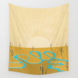 A stream of water in warm yellow desert Wall Tapestry