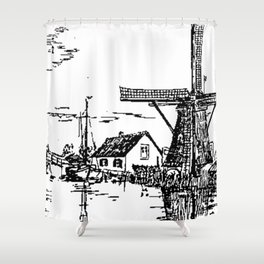 Dutch scene with windmill and house near a canal and freight boat Shower Curtain
