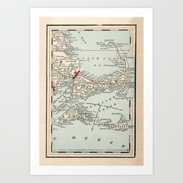 Vintage Cape Cod Map (1893) Art Print
