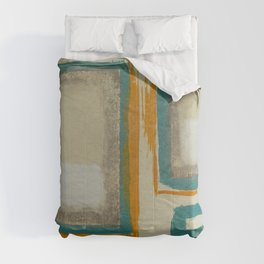 Soft And Bold Rothko Inspired - Corbin Henry Modern Art - Teal Blue Orange Beige Comforters