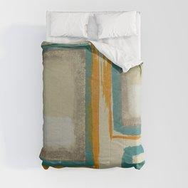 Soft And Bold Rothko Inspired - Corbin Henry Modern Art - Teal Blue Orange Beige Comforters