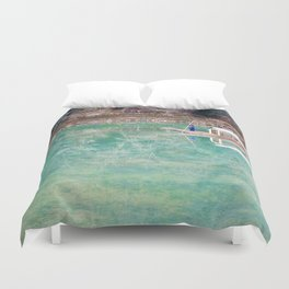 Riding Around Arashiyama, Boats and Trees Reflected in the Canals Duvet Cover