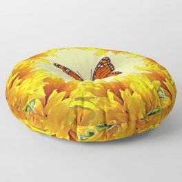 Monarch Butterfly Creany Yellow Sunflower Circle Floor Pillow