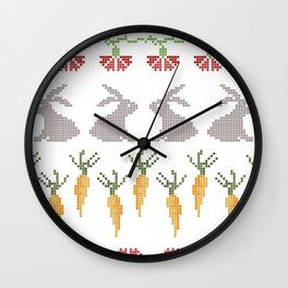 Bunnies and carrots  1 Wall Clock