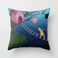 climbing Throw Pillows featuring Climbing by Loezelot