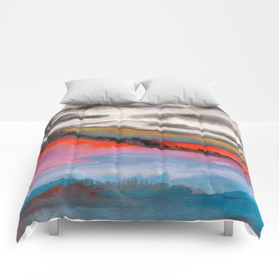 Watercolor abstract landscape 05 Comforters