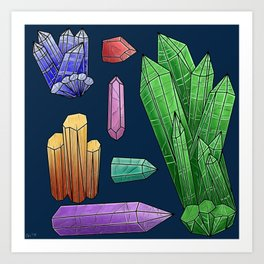 Neon Crystals  Art Print
