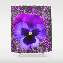 SPRING PURPLE PANSY FLOWER &  DELICATE PATTERN Shower Curtain