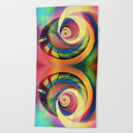 Spinning rainbow Beach Towel