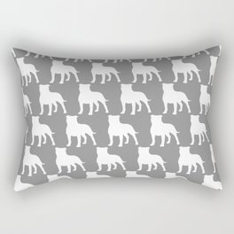 White Staffordshire Bull Terrier Silhouette Rectangular Pillow