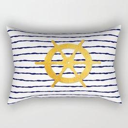 Marine pattern- Navy blue white striped with golden wheel Rectangular Pillow