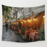 cafe Wall Tapestries featuring Italian Cafe by Chrissy Gensch