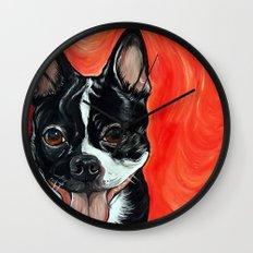 Boston Terrier Dog Art Wall Clock