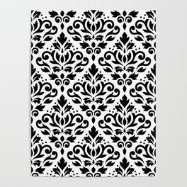 Scroll Damask Big Pattern Black on White Poster