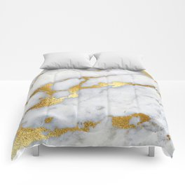 White and Gray Marble and Gold Metal foil Glitter Effect Comforters