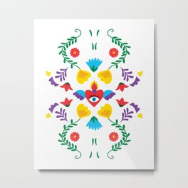 Mexican Otomi Embroidery Folk Art Sacred Heart Evil Eye Metal Print