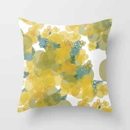 Yellow Flowers with Blue Crosshatch 2 Throw Pillow
