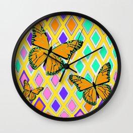 Monarch  Butterflies on Diamond lattice Abstract Wall Clock