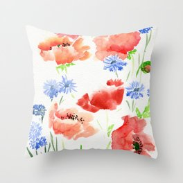 Orange Poppies with Blue Cornflowers Throw Pillow
