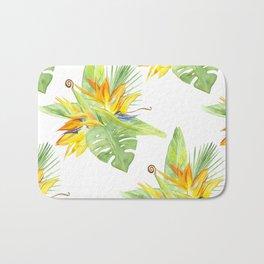 watercolor seamless pattern bird of paradise Bath Mat